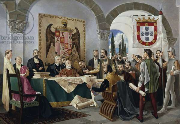 Signing of Treaty of Tordesillas between Spain and Portugal, June 7, 1494, Spain, 15th century