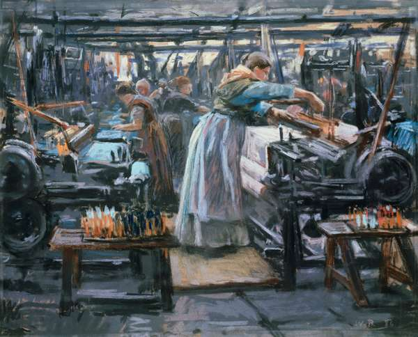Hjula Vaeverie, weaving mill, 1886, pastel on paper by Wilhelm Otto Peters (1851-1935), cm 41x52, Norway, 19th century