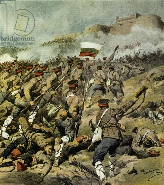 War of Five Nations, Bulgarian army advances towards Adrianople and capture Kirk Kilisse and impressive military booty, By Achille Beltrame (1871-1945), illustration from La Domenica del Corriere, November 3,1912