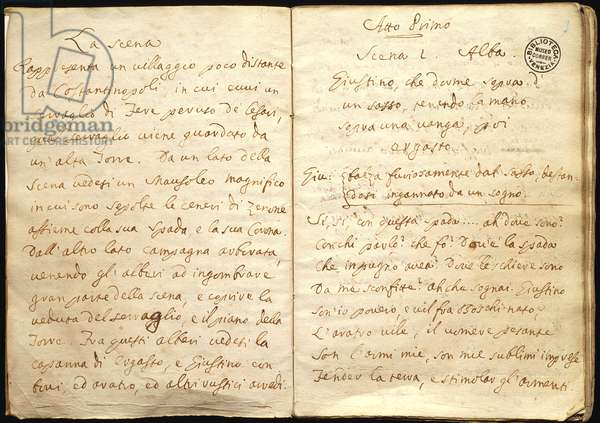Amalasunta, libretto by Carlo Goldoni (1707-1793), pages of the hand-written manuscript, 1731-1732