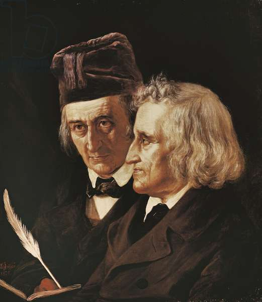Portrait of brothers Jacob and Wilhelm Grimm, 1855 (oil on canvas)
