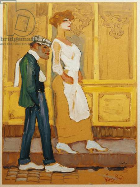 """""""Yellow Store II"""" A prostitute walking down the street with a threatening pimp, 1906 (painting)"""