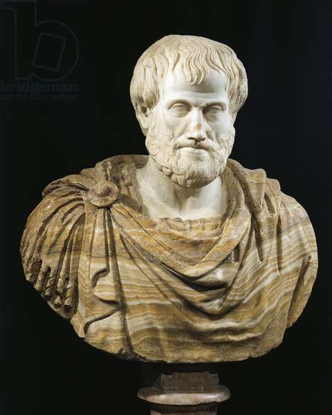 Marble and alabaster bust of Aristotle, copy of Greek bronze original by Lysippus