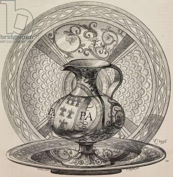 Jug with symbols of Pope Julius II, faience made in Pesaro, Italy, 16th century, engraving from L'Art pour Tous, Encyclopedie de l'Art Industriel et Decoratif, by Emile Reiber, No 31, Paris, 1862