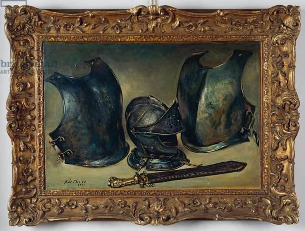 Still life with armours, 1951, by Giorgio de Chirico (1888-1978), oil on canvas, 53x76 cm. Italy, 20th century.