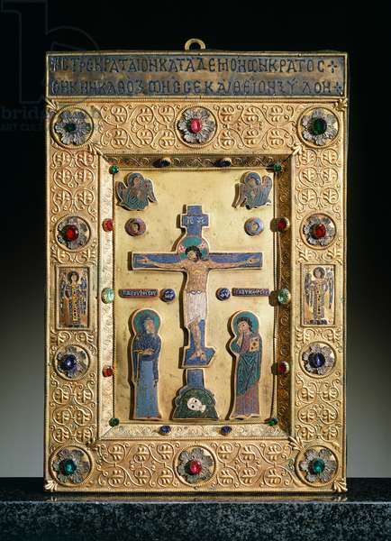 Icon with Crucifixion, Late Middle Ages, St Mark's Treasure, St Mark's Basilica, Venice (UNESCO World Heritage List, 1987), Veneto, Italy, 14th-15th century