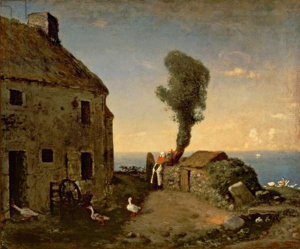 Millet's birthplace at Gruchy, by Jean-Francois Millet (1814-1875), 46x56 cm.