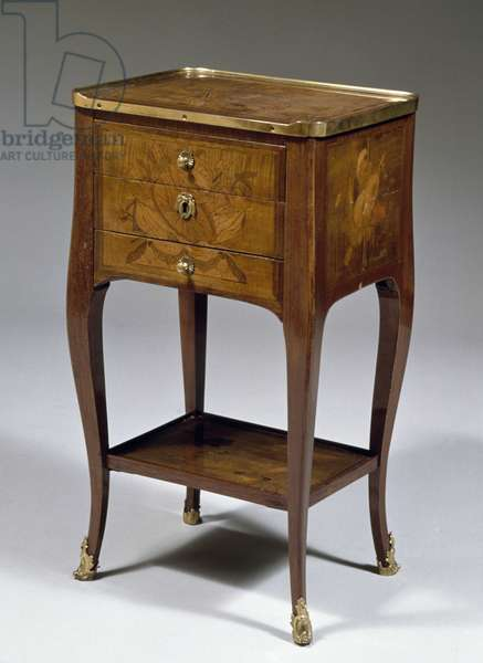 Louis XV style table with amaranth and sycamore veneer finish and inlays, France, 18th century