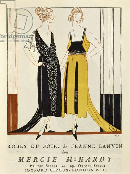 "Women's fashion plate depicting evening dresses, from ""Le Bon Ton"" magazine, by Jeanne-Marie Lanvin, 1920"