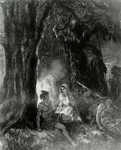 Atala and Chactas, illustration for Atala, novella by Francois-Rene, vicomte de Chateaubriand (1768-1848), engraving after drawing by Gustave Dore (1832-1883), from Atala co' disegni di Gustavo Dore, published by Tipografia Lombardi, 1887, Milan