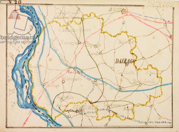 Parish of Dairago, on occasion of pastoral visit of Cardinal Andrea Carlo Ferrari, 1895-1897, planimetry with Ticino River, Naviglio Grande and Villoresi Canal, tramway indicated by blue dotted line, railway in red, Italy, 19th century