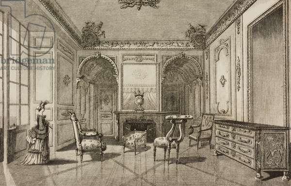 Madame de Maintenon's apartment, Fontainebleau Castle, France, engraving by Lemaitre from France, Troisieme partie, L'Univers pittoresque, published by Firmin Didot Freres, Paris, 1845