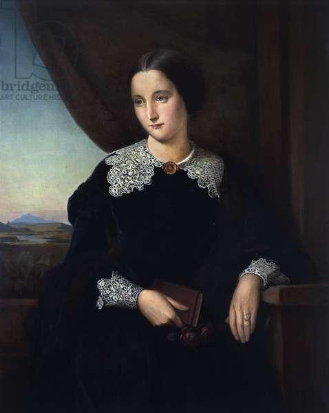 Portrait of Mathilde Wesendonck (Elberfelg, 1828-Traunblick, 1902), German poetess, friend of Richard Wagner. Painting by Johann Conrad Dorner (1809-1866)