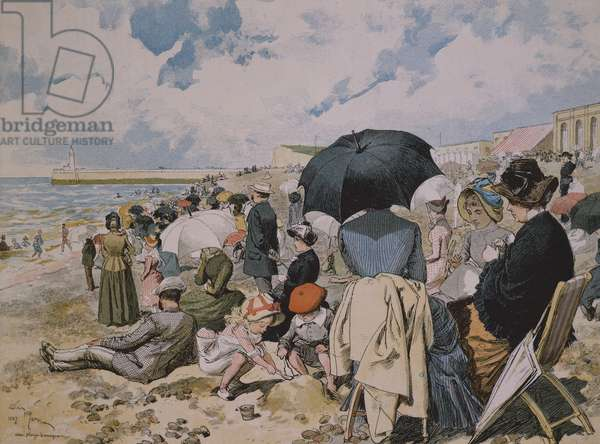 Middle Class on the beach, France, 19th Century