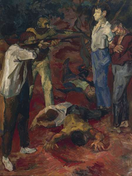The shooting in the countryside, 1939, by Renato Guttuso (1911-1987), oil on canvas. Italy, 20th century.