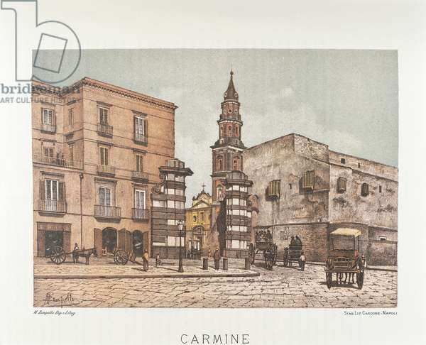 Italy, Naples, Santa Maria del Carmine, 1889 (lithograph)