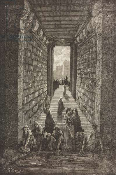 Ancient cistern in Merida, Extremadura, Spain, drawing by Dore, from Travels in Spain by Gustave Dore (1832-1883) and Jean Charles Davillier (1823-1883)