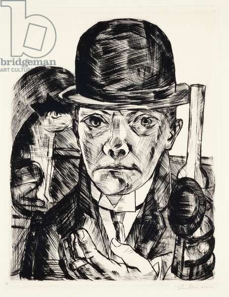 Self-portrait with hat, 1921, by Max Beckmann (1884-1950), engraving. Germany, 20th century.
