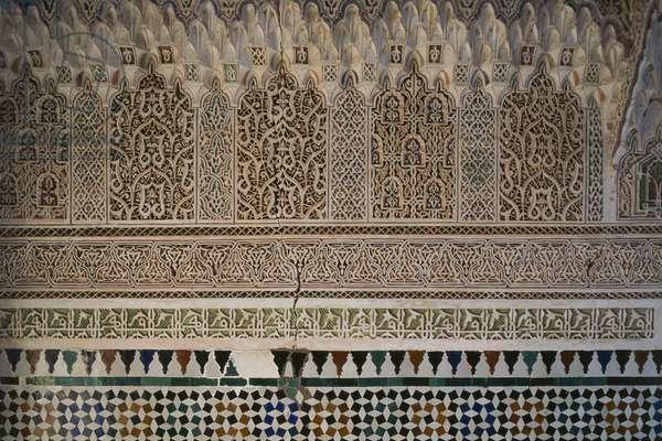 Decorations and stuccos of Bahia Palace, medina of Marrakesh (UNESCO World Heritage List, 1985), Morocco, 19th-20th century