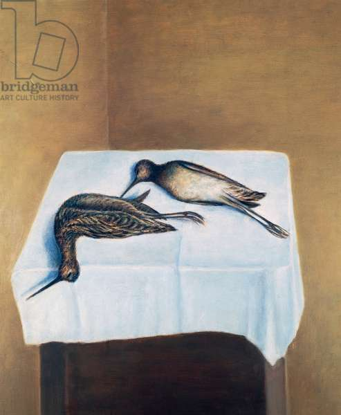 Two woodcocks, 1928-30 (oil on plywood)