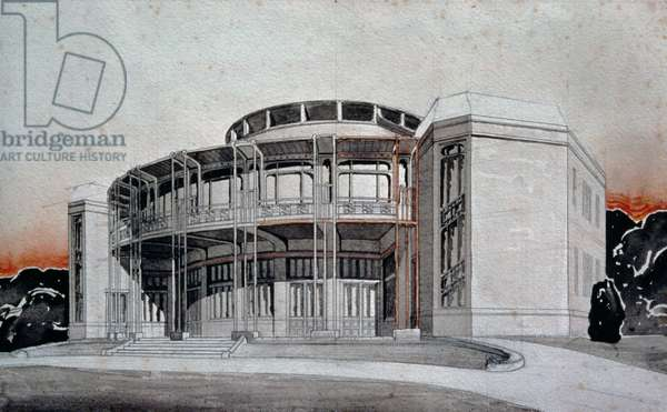 Project design for a theatre in Weimar, 1904, drawing by Henry van de Velde (1863-1957). Germany, 20th century.