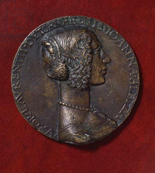 Bronze medal of Giovanna degli Albizzi Tornabuoni (1468-1488), obverse, designed by Niccolo' di Forzore Spinelli known as Niccolo' Fiorentino (1430-1514), 15th century