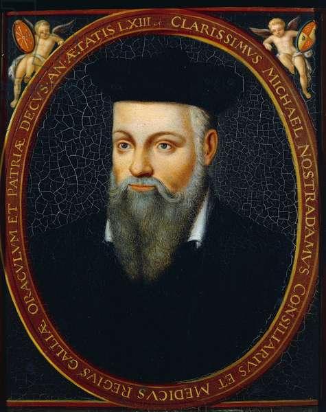 Portrait of Michel de Notre Dame called Nostradamus (Saint-Remy-de-Provence, 1503-Salon-de-Provence, 1566), French astrologer, writer and pharmacist, 1614