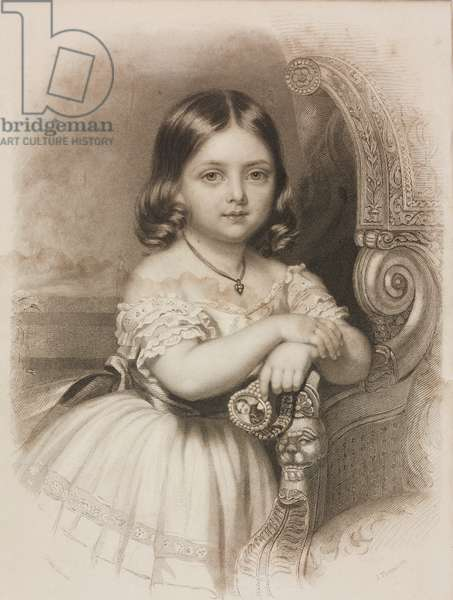 Portrait of Alexandrina Victoria (1819-1901), future Queen Victoria, ca 1824, engraving by James Thomson based on drawing by John Lucas, illustration from Keepsake for 1846, edition 1845