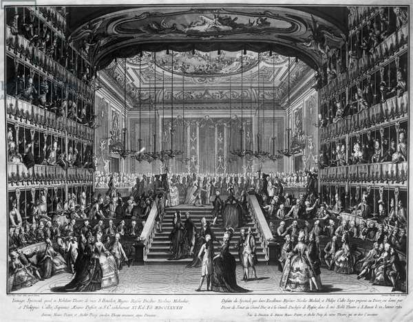 Dinner and ball at Teatro San Benedetto in honor of Conti del Nord, January 22, 1782, Venice, Italy, engraving by Antonio Baratti (1724-1787) after painting by Francesco Guardi (1712-1793)
