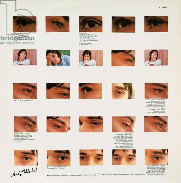 Album cover of The Academy in Peril, 1972, by John Cale, created by Andy Warhol (1928-1987). United States of America, 20th century.