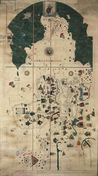 Portolan-Nautical planisphere chart by Juan de la Cosa, Circa 1500, 19th Century copy