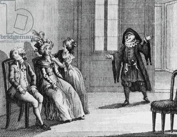 Illustration for liar, comedy by Carlo Goldoni (1707-1793), engraving, from Opere teatrali del sig avvocato Carlo Goldoni veneziano, published by Antonio Zatta e figli, 1790, Venice