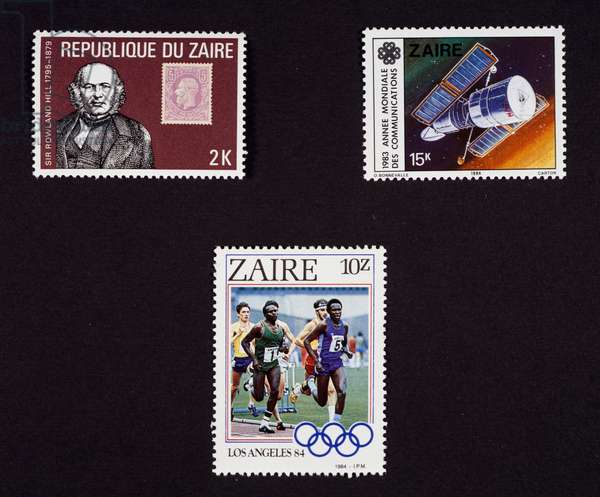 Postage stamp commemorating Centenary of death of Sir Rowland Hill, inventor of postage stamp, 1980, postage stamp commemorating World Communications Year, 1984, postage stamp commemorating Olympic Games in Los Angeles