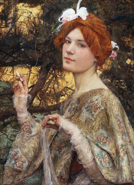 Lady with Orchid, 1900 (oil on canvas)