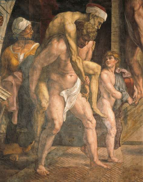 Aeneas escaping with Anchises on his shoulders and his son Ascanius, detail of the Fire in the Borgo, 1514, workshop of Raphael (1483-1520), fresco, Room of the Fire in the Borgo, Apostolic Palace, Vatican City