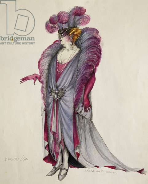Costume sketch by De Vincentis for devil woman in Mefistofele (Mephistopheles), opera by Arrigo Boito (1842-1918)