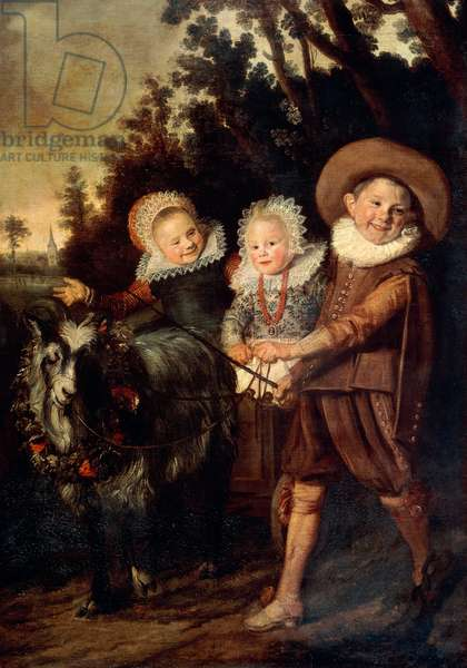 Three children with goat cart, c.1620 (oil on canvas)
