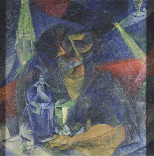 Decomposition of woman's figure at table by Umberto Boccioni (1882-1916), oil on canvas, 86x86 cm, circa 1912