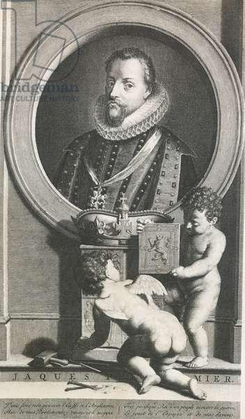 James I Stuart (1566-1625), King of England and James VI as King of Scotland, engraved with cherubs, England, 17th century