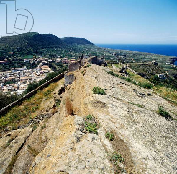 View of Falconiera, Ustica, Sicily, Italy