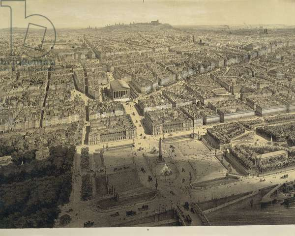 France. Paris, View of the city from above the Chamber of Deputies by Arnout, lithography