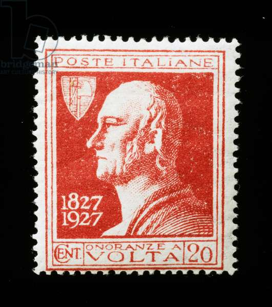 Postage stamp commemorating Centenary of death of Alessandro Volta (1745-1827), 1927, Italy, 20th century