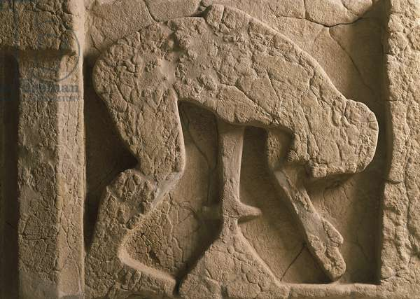 Metope depicting suicide of Ajax who throws himself onto his sword, relief of ancient thesaurus (storehouse) of Heraion (sanctuary to goddess Hera), Campania, Italy, 6th Century BC