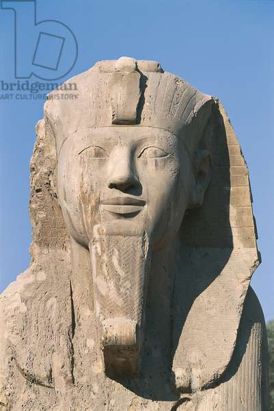Egypt - Cairo - Ancient Memphis (UNESCO World Heritage List, 1979). Alabaster sphinx, 18th Dynasty (1341-1200 BC). Detail