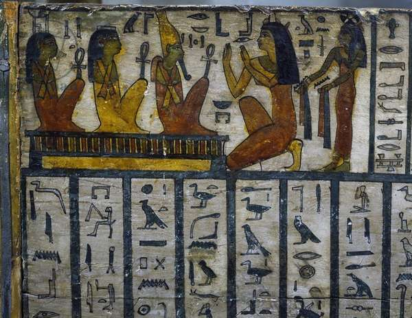 Sistrum player of God Amon-Ra deceased in front of infernal deities, detail from decoration of Sarcophagus Of Tachepenkhonsu, Egyptian civilization, Late Period, Dynasty XXVI, also known as Saite Period