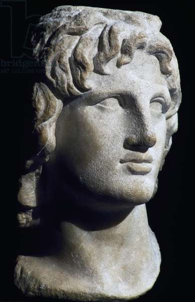 Marble head of Alexander the Great, Hellenistic Civilization, 2nd-1st century BC