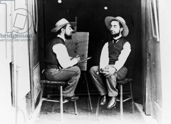The French painter Henri de Toulouse Lautrec (Albi, 1864-Saint-Andre'-du-Bois, 1901), double photo portrait, 1895. France, 19th century.