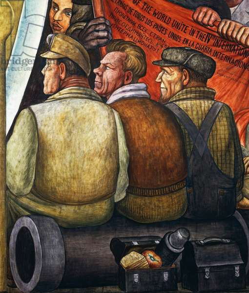 Three workers sitting on a cannon, detail from Man at the crossroads, looking with hope and high vision to a new and better future (fresco)