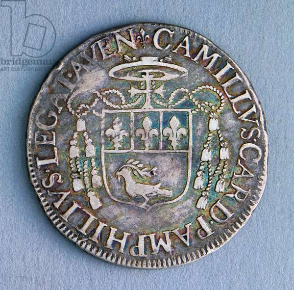 Piastra (coin) of Pope Innocent X (1644-1655), 1651, Avignon mint, Reverse, Papal States, 17th century