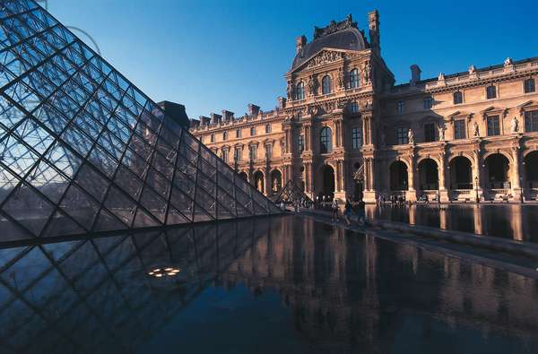 Napoleon courtyard at the Louvre with the Pyramid in the foreground, 1989, architect Ieoh Ming Pe, Paris, Ile-de-France, France